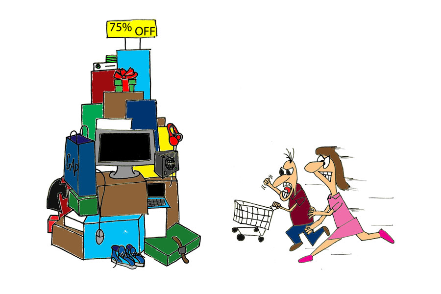After a Thanksgiving meal people race out of the house to be able to go shopping, which can take away from family time.