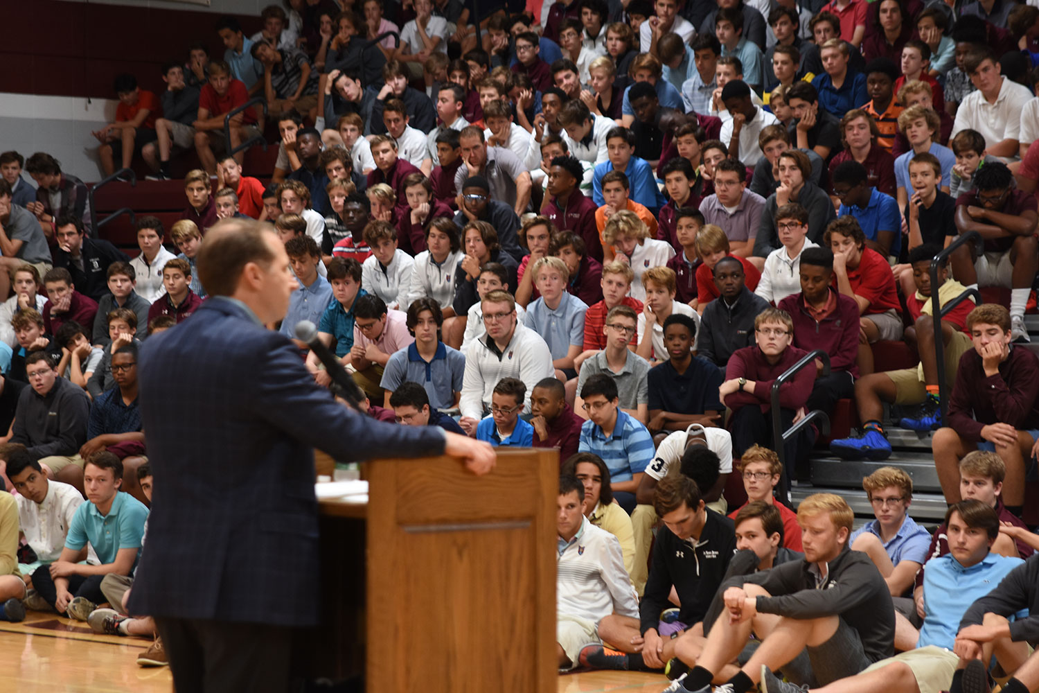 Students+listen+as+president+Corey+Quinn+addresses+them+during+an+all-school+assembly+concerning+the+not+guilty+verdict+in+the+trial+of+a+St.+Louis+police+officer.
