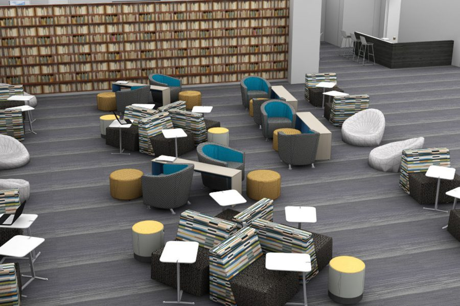Design of what the main seating area of the library will look like