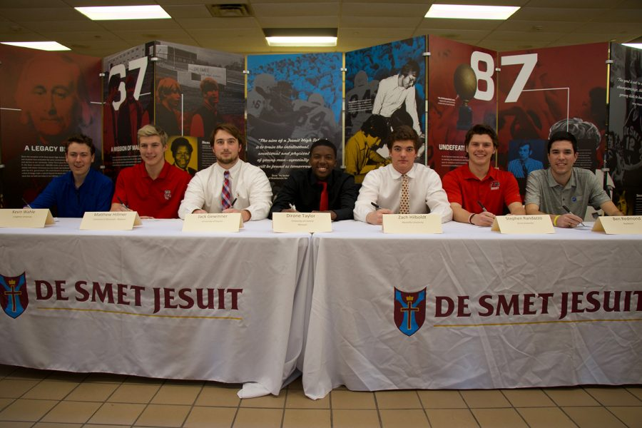 The athletes prepare to sign to their selected colleges.