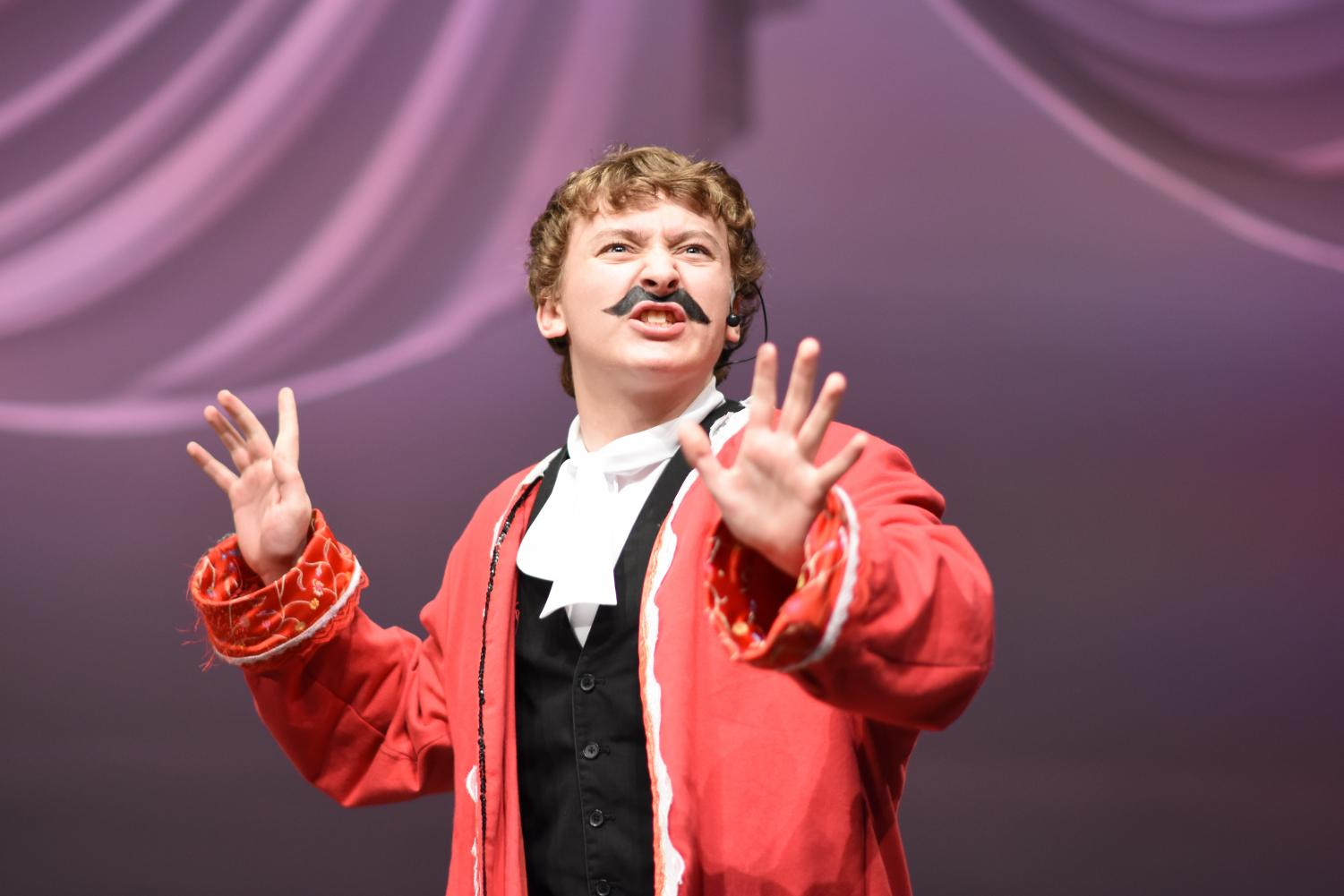 Junior Camden Brazile performs as the pirate Black Stache in Peter and the Starcatcher. Brazille is one of five students to compete in the state one-act performance of