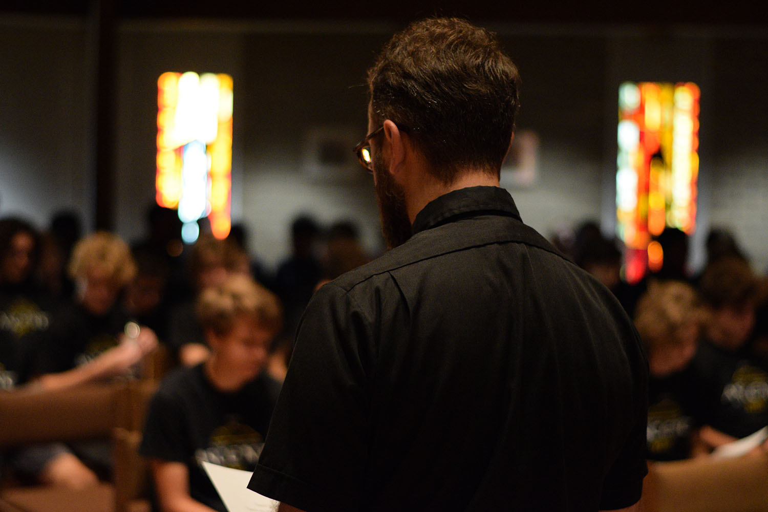 Fr. Chris Schroeder, S.J. addresses the sophomores in the chapel before they embarked on Ascent Sept. 17.