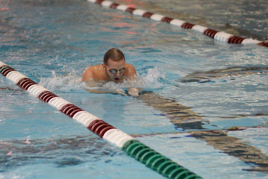 Senior Paul Woods swim breatstroke versus MICDS on Sept. 11.