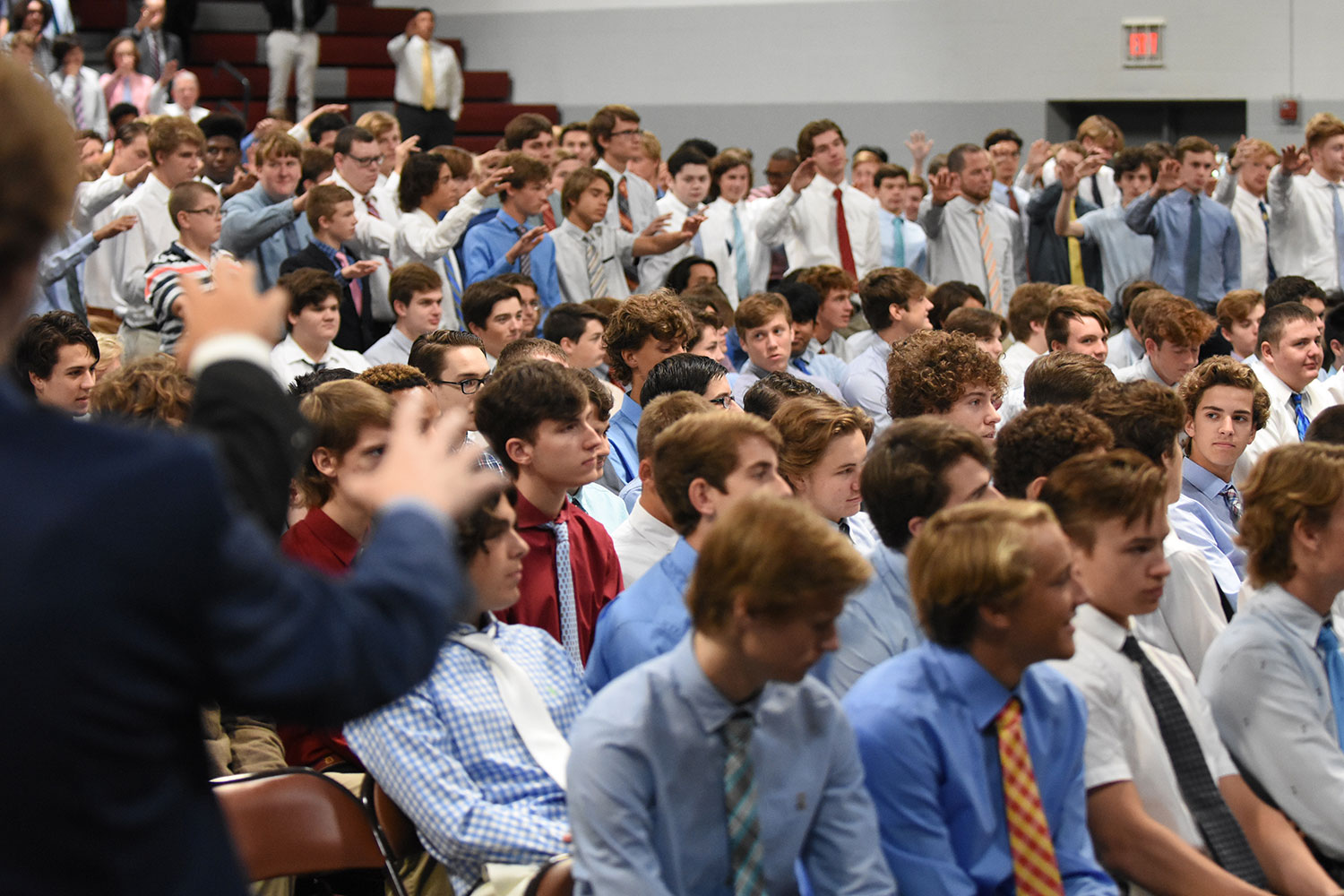 The school blesses juniors during the missioning mass before they leave for their projects.