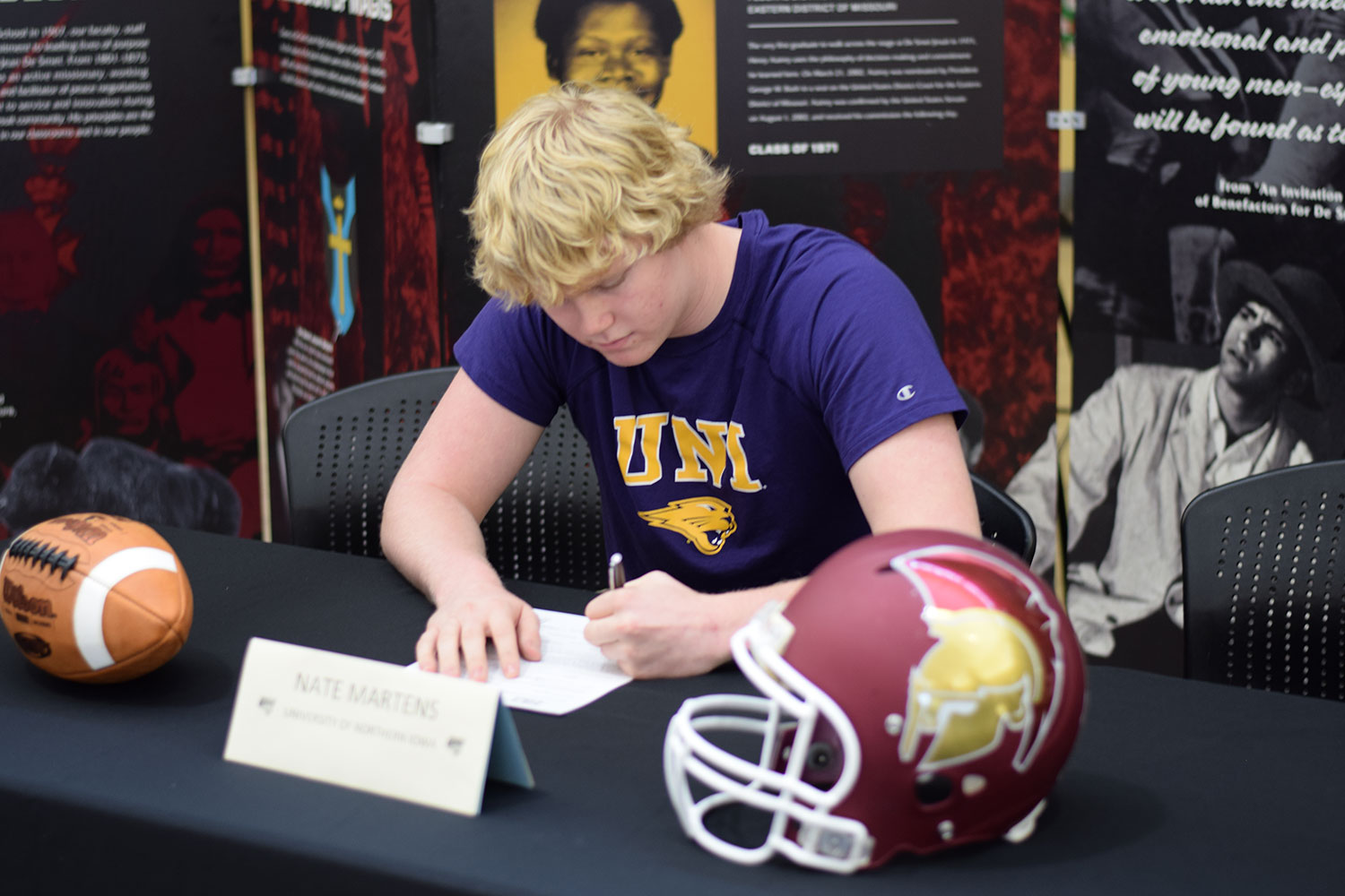 Nate Martens signs to Northern Iowa University.