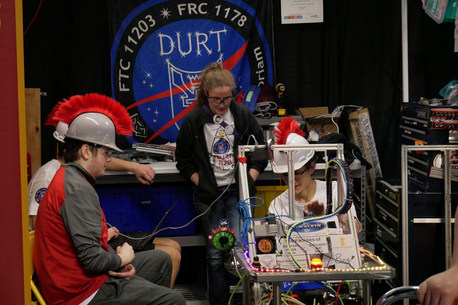 Matt Hippie puts in his final check of the DURT robot to insure the best performance in the competition.