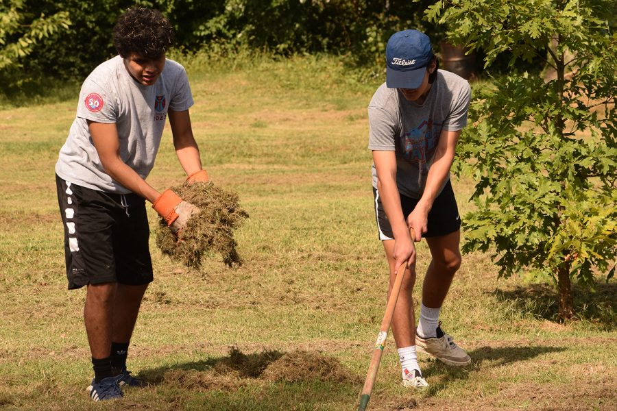 Juniors Peter Molitor and Dominic Genovese take part in their service project.