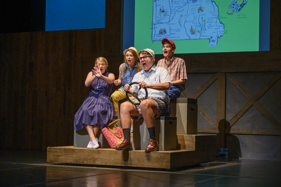 At the start of the fall play, the cast yells in fear as the family minivan nearly crashes head on into an oncoming vehicle. Luckily the cars do not crash and the family continues on their roadtrip, after leaving Iowa.