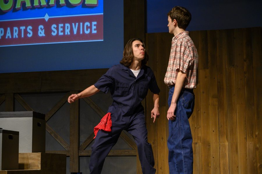 Nico Del Pietro, who plays the role of Fred the mechanic, yells in excitement. Recently Don Browning's car has broken down and needs immediate repair.