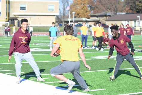 Students from the Gonzaga and Kavanaugh houses take part in a football game during house day on Nov. 15