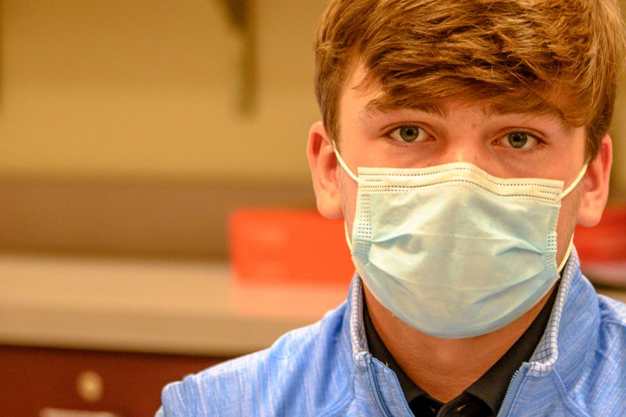 George Lane wears a mask during school to keep from spreading bacteria through the the air.
