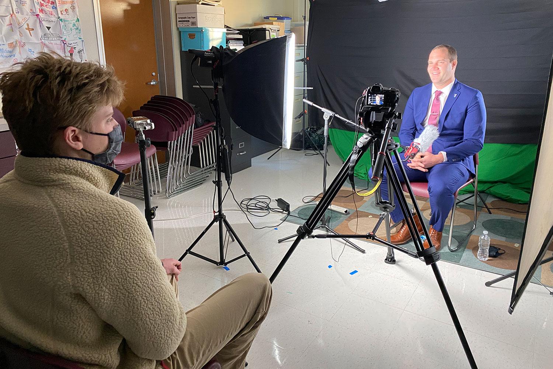 Senior Michael Dolan interviews new president Dr. Daniel Zepp.