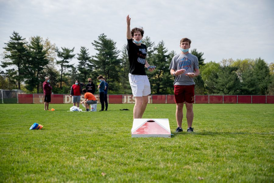 During Formation Friday, Thomas Redman and George Lane were competing in Corn hole on the baseball field.