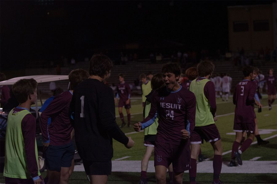 Jacob Panagos 24 celebrates with Kyle Crosswhite 24 after a 3-2 OT win versus Chaminade. De Smet opened their MCC campaign with a game winning goal to move to 1-0 in conference play.